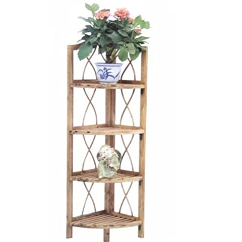 Shelf Corner Unit 4 Shelves Pine Wood 28 x 26 x 110 (Panca A Terra)
