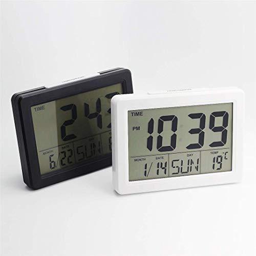 AMYZS-KK LED-Digital-Wecker stummschalten, multifunktionale elektronische Nachttischuhr, HD-Spiegel, 12/24 Stunden, Temperatur, Datumsanzeige - Hintergrundbeleuchtung (Black)