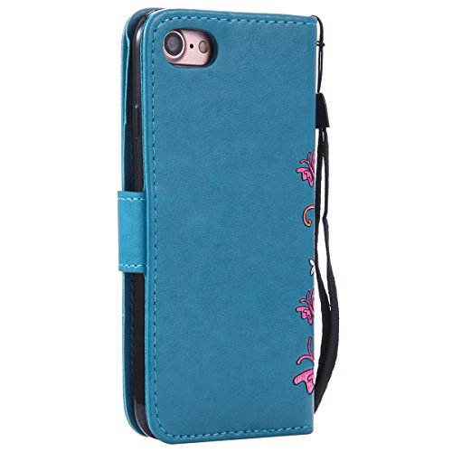 EUWLY Case Cover per iPhone 6 Plus/iPhone 6s Plus (5.5) Custodia Portafoglio PU Pelle Farfalle e Fiori Colore Solido PU Leather Wallet Cover Lanyard Protective Portafoglio Case Cover Internamente Sil Blu