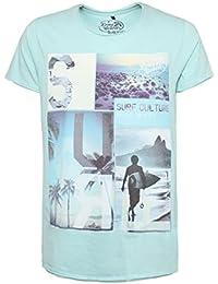 SUBLEVEL Herren T-Shirt mit Surfer Print | Meliertes Basic Print-Shirt aus hochwertigem Jersey Material