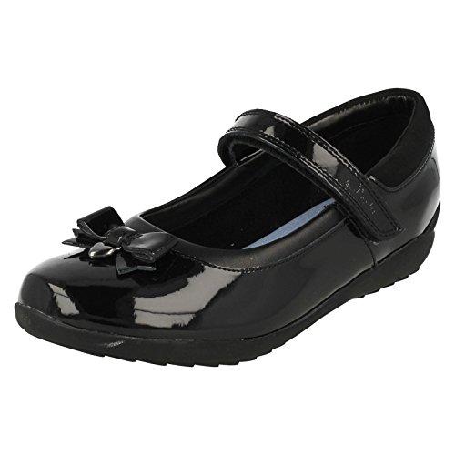 Clarks Ting-Fieber Girls Infant School Schuh in schwarzem Leder oder Patent Black Patent 11½ F - Infant Black Patent Schuhe