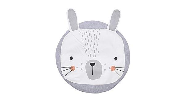 1/m Tapis D/éveil rond Rabbit Lapin B/éb/é Motif Tapis de couloir chambre d/écoration coton blanc gris