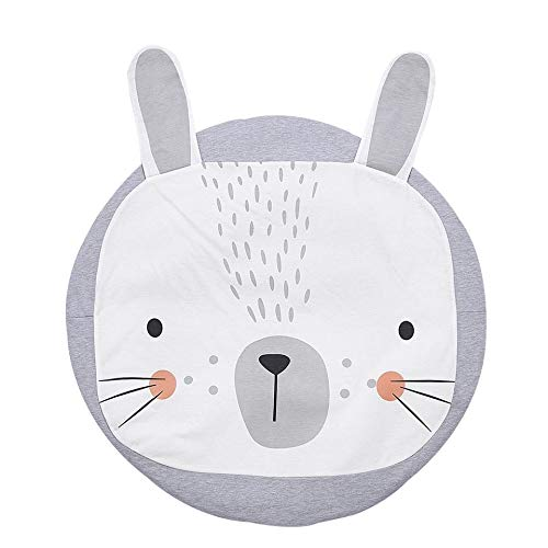 1m baby krabbel tovaglia rotonda coniglio rabbit coniglio motivo tappeto cameretta decorazione cotone grigio bianco