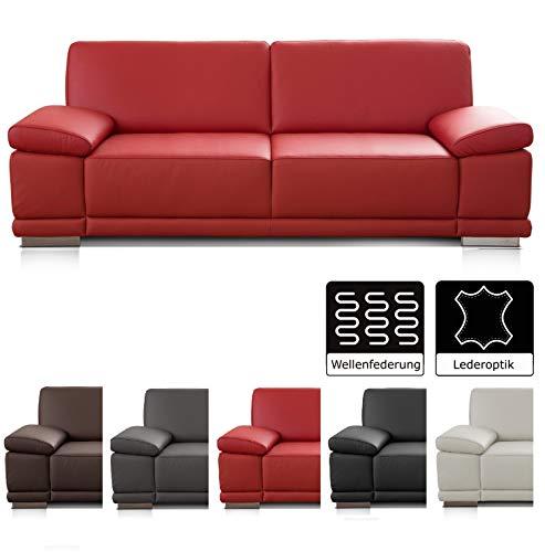CAVADORE 2,5-Sitzer Sofa Corianne in Kunstleder / Kleine Couch in hochwertigem Kunstleder und modernem Design / Mit verstellbaren Armlehnen / 191 x 80 x 99 / Kunstleder rot