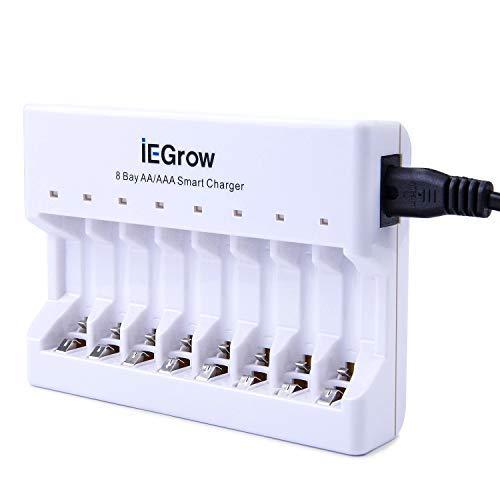 Caricabatterie a 8 Slot con Indicatore LED, IEGrow Caricabatteria per AA AAA Ni-MH Ni-CD Batteria