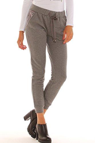Pantalone in felpa di puro cotone con inserto in felpa goffrata Grigio