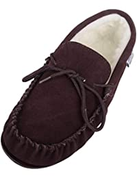SNUGRUGS Wool Lined Suede Moccasin with Rubber Sole, Chaussons Homme deb4ffb96e3c