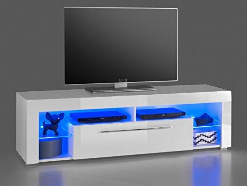 lifestyle4living Lowboard, TV-Schrank, TV-Board, Fernsehschrank, TV-Sideboard, TV-Unterschrank, TV-Kommode, Hochglanz, LED-Beleuchtung, weiß, Maße: 153/44/44 cm