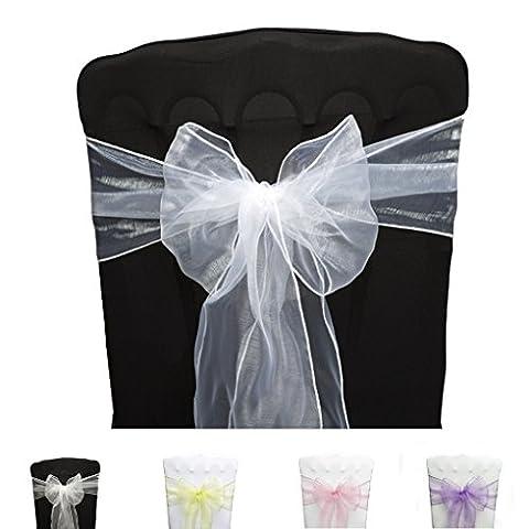 PONA ® Lot de 10 Nœuds de chaise en Organza avec bords ourlés - Blanc - noeud mariage cérémonie réception anniversaire fête décoration ruban