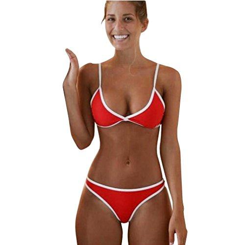 Brazilian Bikini Gedruckt (ubabamama Frauen brasilianisches Bikini Set Bademode Beach Triangle Badeanzug Bandeau Badeanzug String Badeanzug)