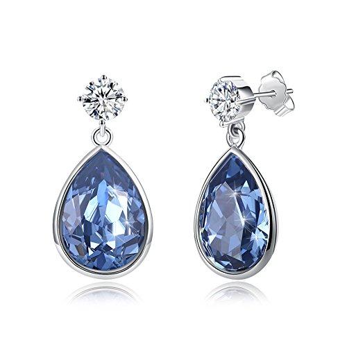 sywin 925Sterling Silber Drop Baumeln Ohrringe Made mit Elements Blau Kristall von Swarovski & AAA Zirkon Ohrstecker tropfenförmig Ohrring für women-hypoallergenic