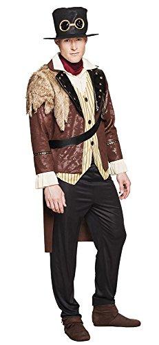 4-teiliges Steampunk Captain Herren Kostüm Mantel mit Hemd Hut Hose Halstuch, Größe:54/56