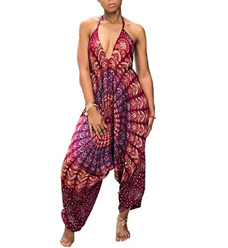 Low Back Bodysuit (CuteRose Womens Folk Style Genie Hippie Graphic Print Low Back Jumpsuits jujube red M)