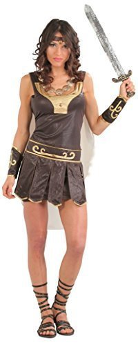 Fancy Me Damen Sexy altertümlich Griechisch Warrior historisch Thracian Römisch Griechisch Kostüm Kleid Outfit 14-18 - Braun, - Xena Warrior Kostüm