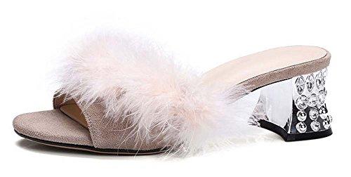 L&Y Donna Pompetta aperta delle dita dei piedi Stivali dello struzzo di pelle scamosciata Pattini freddi del piede Scarpe di peluche Charming Sandali del tallone Beige
