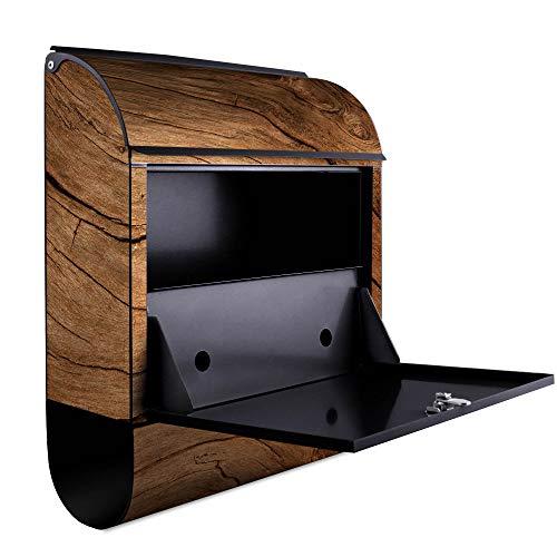 banjado – Schwarzer Design Briefkasten Zeitgsfach 38x42x11cm Wandbriefkasten mit Motiv Trockenes Holz, Briefkasten schwarz ohne Standfuß - 3