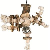 Flamingo Holzspielzeug und aus Seil mit Einem großen Glöckchen für die perroque