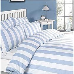 Louisiana Vertical Blue & White Stripe Duvet Cover Set 100% Cotton 200 Thread Count - SuperKing