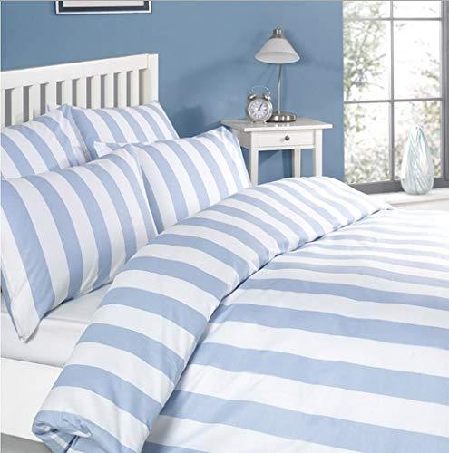 Louisiana Bedding Bettwäsche Bettbezug Set Blau Weiss weiß Gestreiften 100% Baumwolle Kissenbezug Bettdecke, 200x200 140x200 230x220 260x220 (230 x 220 cm) -