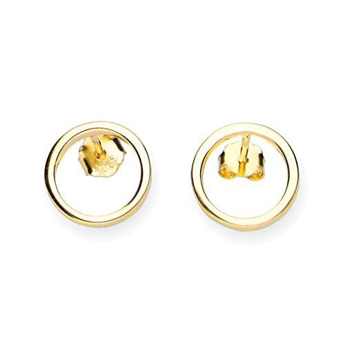 URBANHELDEN - Ohrringe Kreis Filigran - 1 Paar 925 Sterlingsilber Ohrstecker Damen Silberschmuck Ohr-Schmuck Studs - Gold