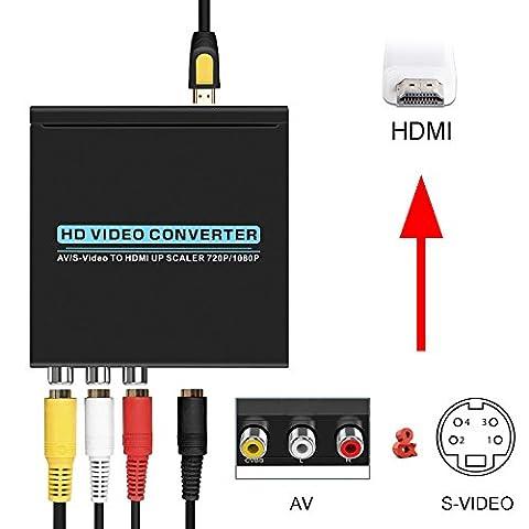 AV to HDMI Converter, OCDAY 3RCA Composite Kein Signal Interferenz AV auf HDMI Video Audio Konverter Adapter Mini Box Support FHD 1080P für (Svideo To Vga Converter Box)