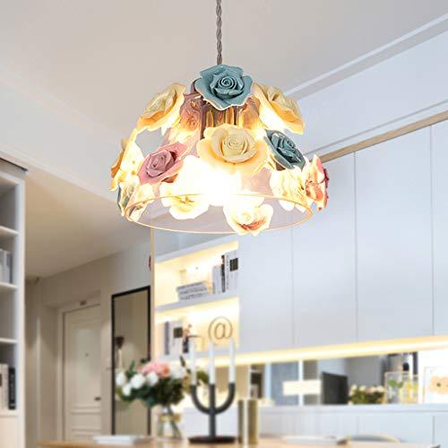 ZQH Keramik Blume Glas Leuchter, Kreativ Bunt Anhänger Licht Fixture Küche Schlafzimmer Restaurant Balkon E27 Hängelampe,h17*22cm -
