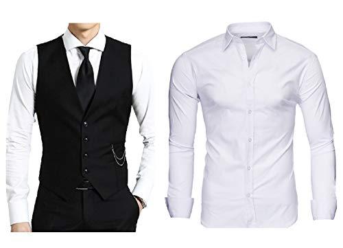 Kayhan Herren Weste Schwarz + Hemd Weiß (5XL)
