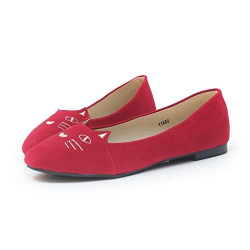 LvYuan-mxx Chaussures femme / Printemps été automne / Décontracté Doux et charmant / plat Talon Rond orteil / Bureau & Carrière Vêtements / Chaussures 38-RED