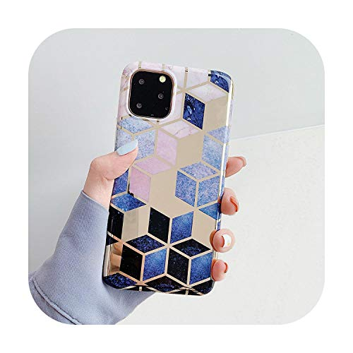 Geometric Marble Phone Cases For Iphone 11 Pro Max Xr Xs Max 6 6S 7 8 Plus X Soft Electroplated Back Cover Coque -K-For Iphone 7 Or 8