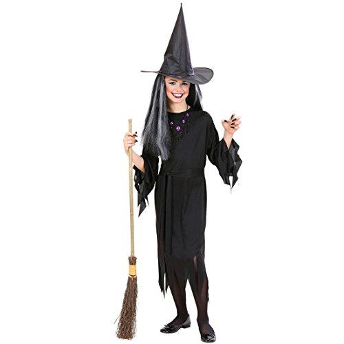 Kostüm Hexe Mädchen Fee - Amakando Hexenkostüm Kind Kinderkostüm Hexe 158 cm Halloween Kostüm Mädchen Schwarze Fee Zauberin Kinderfasching Faschingskostüme Kinder