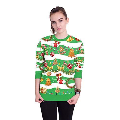 Damen Herren Sweatshirt Hoodies 2018 Europäische Und Amerikanische Erwachsene Weihnachtsmann Rundhals Langarm-Print Pullover, XL, Weihnachtsszene