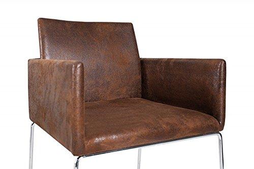 Sedia per sala da pranzo Design DuNord MARCO in microfibra marrone ...