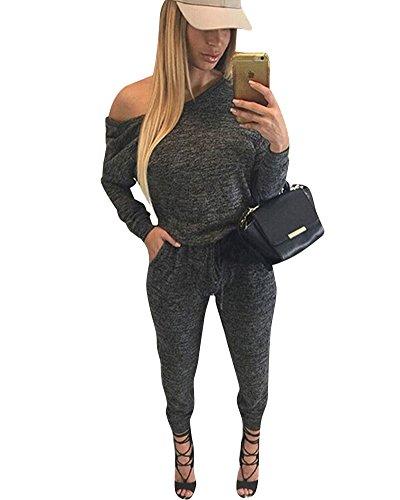 SaiDeng Donna Fuori-Spalla Di Pantaloni Casual Partito Club Delle Tute