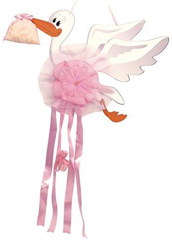 Babysanity fiocco nascita neonata a forma di cicogna per la nascita del tuo bambino/a (grande rosa)