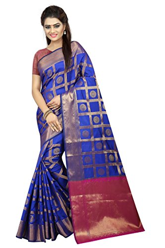 Hinayat Fashion Silk Saree (Nht01Sri151_Blue_Free Size)