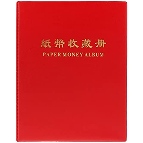 20 Pagine Album Raccolta Banconota Carta Moneta Titolare Libro #C Rosso