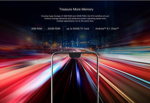 DOOGEE N10 Téléphone Portable débloqué Pas Cher- 5.84 Pouces FHD + (1080 * 2280) Écran U-Notch Smartphone Android 8.0 4G, Octa Core 3 Go + 32 Go, 16 MP+16 MP+13 MP, Double SIM, Design Mince Violet