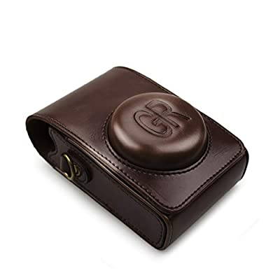 kinokoo Leather Case Bag Tailored for Ricoh III Protective Carrying Bag coffee