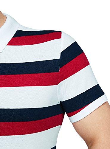 oodji Ultra Herren Pique-Poloshirt Gestreift Mehrfarbig (1047S)