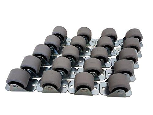 (Packung mit 20 Stück) Castors, kleine Mini-Lenkrollen im Set, schwenkbar, 30-mm-Kunststoff-Gummirollen mit Metallplatte, Möbel-Gerät und -Ausrüstung
