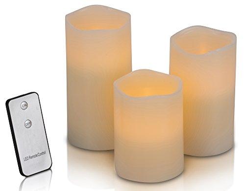 3 LED Kerzen mit Fernbedienung | 4 teiliges Set  stimmungsvolle Echtwachskerzen mit flackernder Flamme für gemütliche Abende