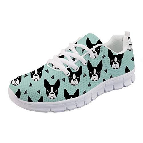HUGS IDEA Boston Terrier Dot Print Damen Laufschuhe Animals Puppies Air Mesh Athletic Walking Sneakers -EU Größe 41 Funky Animal