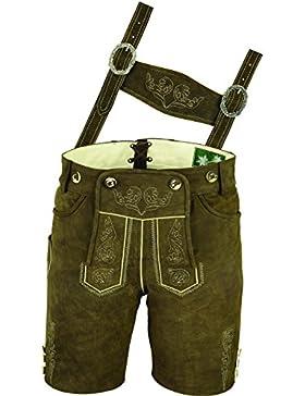 Hochwertige Lederhose mit Träger, Trachten Lederhose Herren kurz, Damen Trachtenlederhose im antik Nubuk Echtleder...