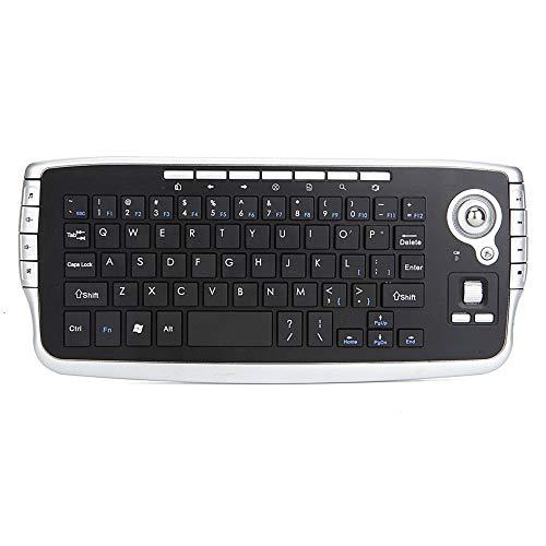 CHUSHENG Mini-Wireless-Trackball-Tastatur, 2-in-1-Multifunktionstastatur, Multimedia-Maus und Tastatursatz Einfach zu transportieren, auf Reisen oder zu Hause zu verwenden - Unteren Metallrahmen