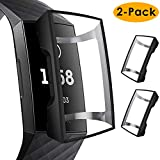 CAVN Compatible Fitbit Charge 3 Screen Protector Case [2-Pack], Chargeable Protective Case Bumper Flexible TPU Slim Full Protection Shatter-Resistant Shock-proof Screen Case Cover, Black & Black