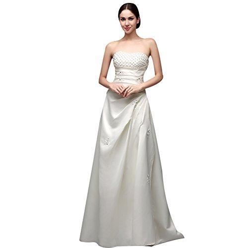 KekeHouse® ALinie Bandeau Bodenlang Kleid mit Perlen Verzierung ...