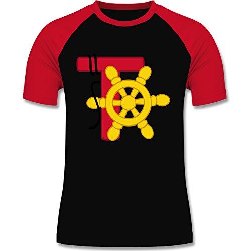 Anfangsbuchstaben - T Schifffahrt - zweifarbiges Baseballshirt für Männer Schwarz/Rot