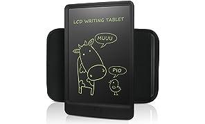 NEWYES LCD Tablet da Scrittura Portatile con Custodia a Mano, Lunghezza 10 Pollici (Nero+Astuccio)