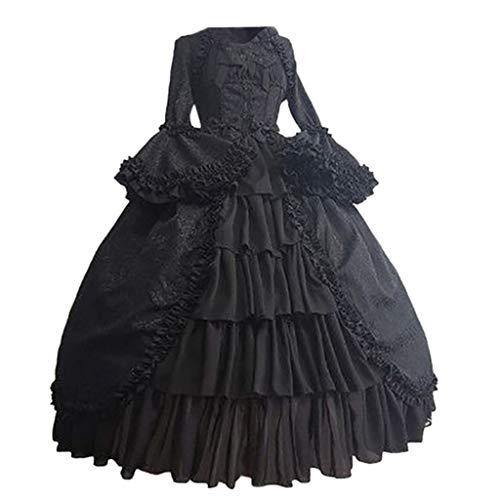 RYTEJFES Ballkleid Mittelalter Kleid mit Trompetenärmel Party Kostüm Damen bodenlang Vintage Renaissance Costume Cosplay Gothic Court Patchwork Bow Kleid (Dwights Kostüm)