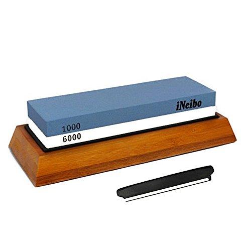 iNeibo 2-in-1 Schleifstein mit rutschfestem Bambus-Holzsockel, Silikonauflage und Winkelhalter. 1000/6000